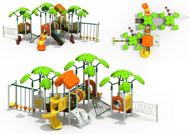 Plac zabaw przypominający tropikalną wyspę