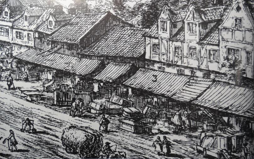 Jarmarkowe stragany na Targu Węglowym, ok. 1760, fragment ryciny M. Deischa