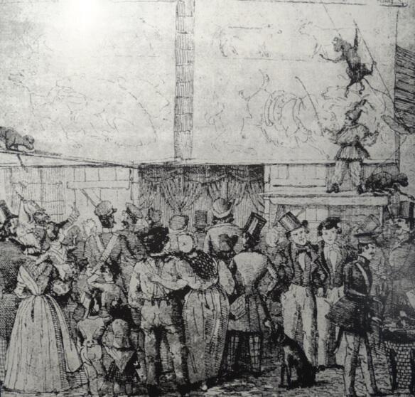 Takie atrakcje można było oglądać w połowie XIX wieku, litografia Gottheila