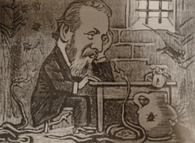 """W wydaniu """"Kladderadatscha"""" z 26 czerwca 1898 roku, na jednej ze stron opublikowano kilka rysunków, które miały ilustrować i komentować ważne – zdaniem redakcji – wydarzenia. W tekście pod rysunkiem czytamy: """"Redaktor naczelny »Kladderadatscha« oddaje się w Wisłoujściu studiowaniu wartości Fryderyka Wielkiego."""