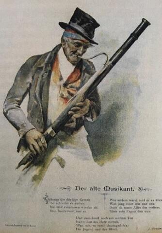 """Pocztówka z wierszem Trojana """"Der alte Musikant"""""""