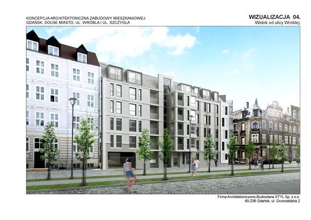 Koncepcja architektoniczna zabudowy mieszkaniowej ul. Wróbla i ul. Szczygla - widok od ul. Wróblej