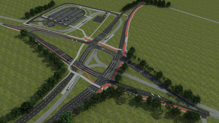 Tak będzie wyglądać docelowe skrzyżowanie ul. Nowej Bulońskiej z ul. Jabłoniową i ul. Warszawską