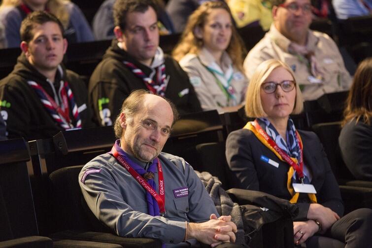 ZHP od wielu miesięcy buduje pozycję Gdańska jako najlepszego kandydata na gospodarza Jamboree 2023. W zeszłym roku 160 delegatów z Europy przyjechało na Międzynarodowe Forum Liderów Skautowych - spotkało się m.in. w ECS z Lechem Wałęsą. Na zdjęciu: szef światowego skautingu Joao Armando Goncalves