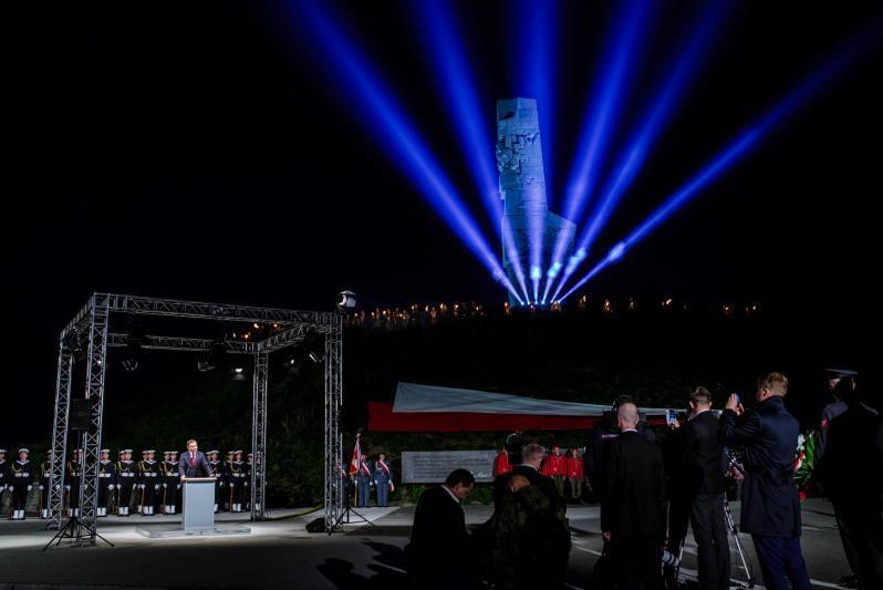 Uroczystości pod Pomnikiem Obrońców Wybrzeża na Westerplatte w 2016 r.