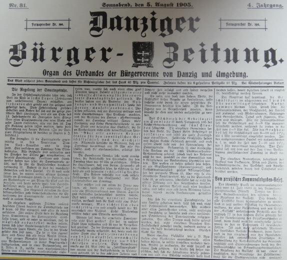 """Tekst w  """"Danziger Bürger-Zeitung"""" z 1905 roku"""