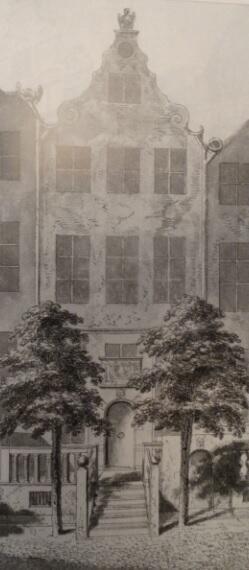 Rodzinny dom Daniela Chodowieckiego przy ulicy Św. Ducha; rycina D. Chodowieckiego