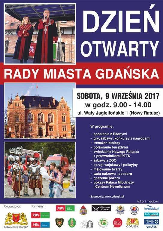Plakat zapraszający na Dzień Otwarty Rady Miasta Gdańska