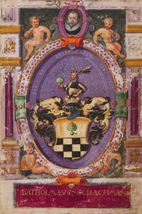 Okładka albumu podróżnego Schachmana, zawierającego 105 akwarel; u góry widoczny jego portret