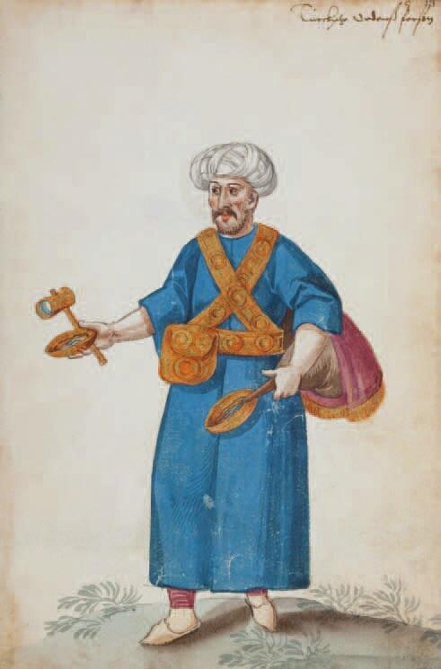 Dostawca wody (saquatz) z bukłakiem na plecach, miseczką i lusterkiem; karta z albumu