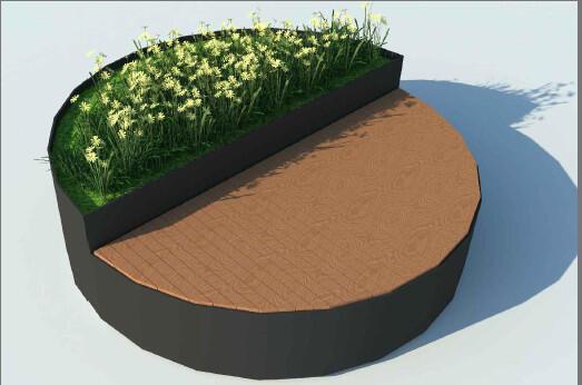 Drewniana część służy do siedzenia, donice dla kwiatów - propozycja dla Grobli I