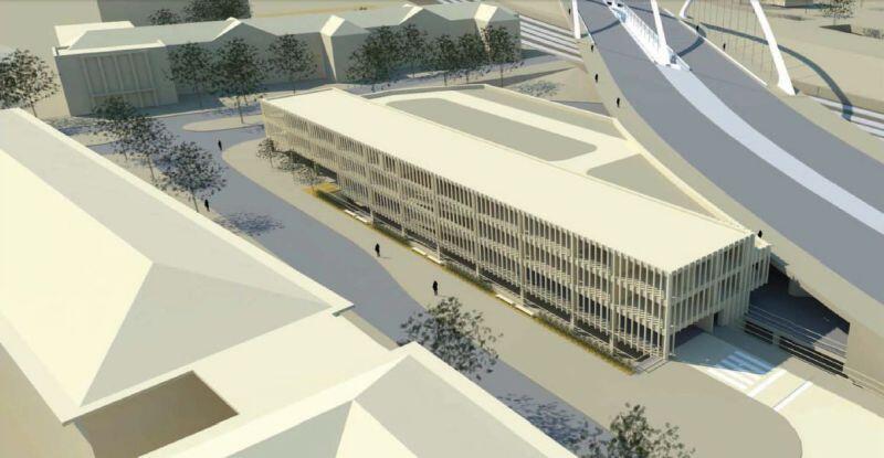 Wizualizacja: część nowego wiaduktu oraz planowany wielopoziomowy parking