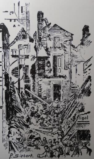 Peter Siebert wykonał wierne szkice zburzonych domów dla 'Danziger Zeitung'