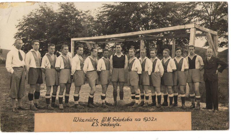 Piłkarze Gedanii w 1932 roku zostali wicemistrzami Wolnego Miasta Gdańska