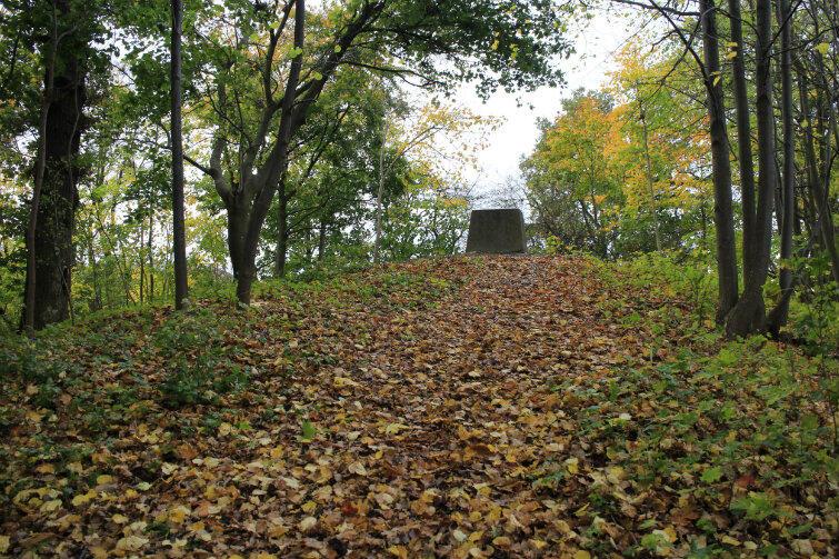 Kamienny cokół na szczycie wzgórza - pozostałość po pomniku z 1817 r.