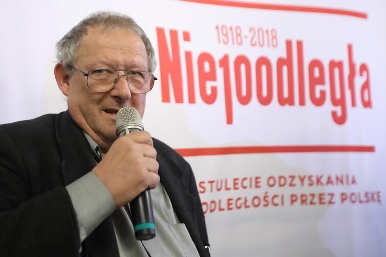 Adam Michnik podczas spotkania w Ratuszu Głównego Miasta w Gdańsku