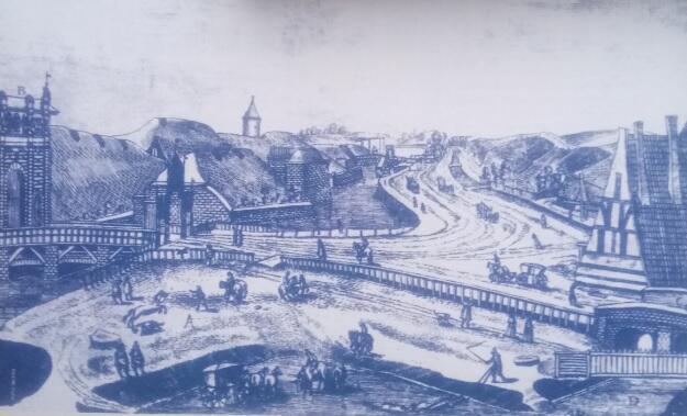 Droga okrężna na rycinie I. Dickmanna z 1617 roku; widok od Bramy Wyżynnej w stronę Oruni
