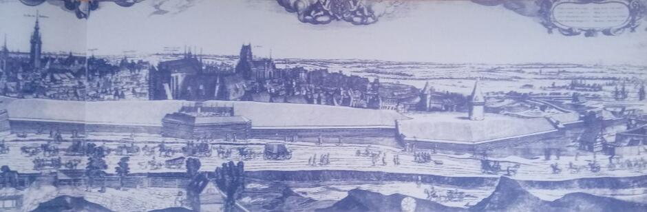 Fragment widoku Gdańska z Biskupiej Górki z 1620 roku, na pierwszym planie droga okrężna pod murami miasta