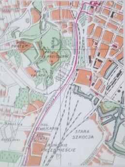 Fragment planu z pierwszych lat powojennych ukazujący przebieg Promenady włączonej w ciąg ulicy Oruńskiej (później Jedności Robotniczej)
