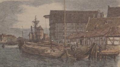 Północny cypel Wyspy Spichrzów, ok. 1880; rycina A. C. Clossa