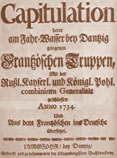 Karta tytułowa tekstu kapitulacji wojsk francuskich, która miała miejsce na Westerplatte, 22 czerwca 1734 roku