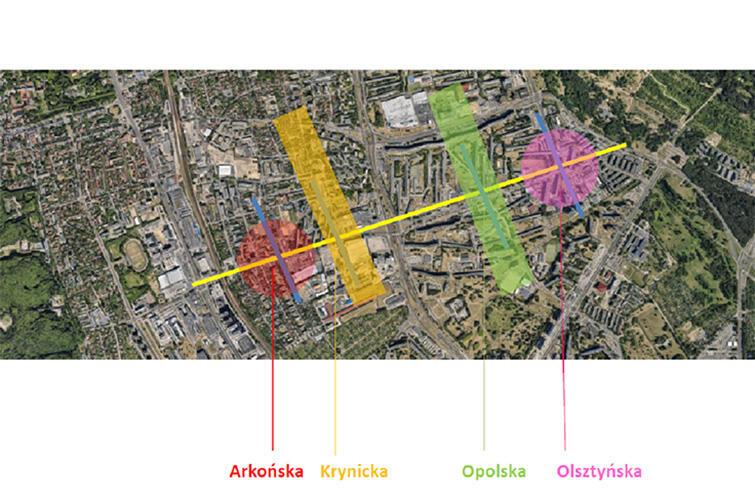 Obszary, na które podzielono Kołobrzeską na potrzeby warsztatu