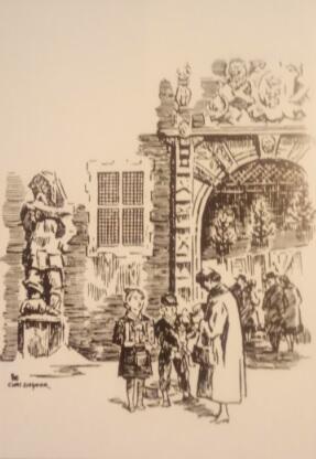 Kolędnicy przed wejściem do pasażu w Wielkiej Zbrojowni; rysunek Kurta Ziesmera