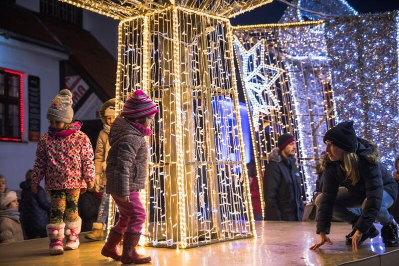 Iluminacje świąteczne w Gdańsku na Zielonym Moście
