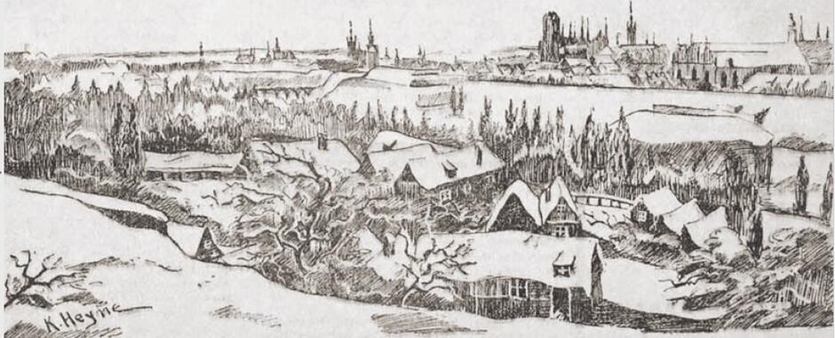 Zimowy Gdańsk na ilustracji z gwiazdkowego wydania 'Danziger Zeitung', 1927