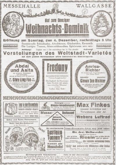 Reklama świątecznego kiermaszu i anonse wielu atrakcji, 'Danziger Volksstimme'