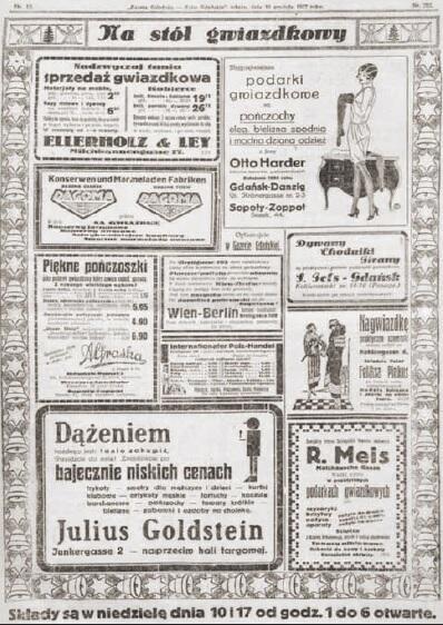 Reklamy z przedświątecznych wydań 'Gazety Gdańskiej'