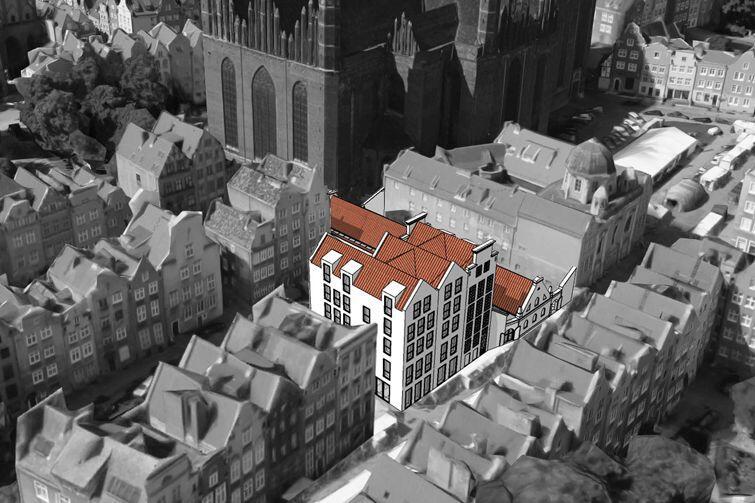 Ławy Mięsne - jeden niski budynek restauracji i trzy kamienice - przy ul. św. Ducha w Gdańsku wpasują się w tkankę miasta
