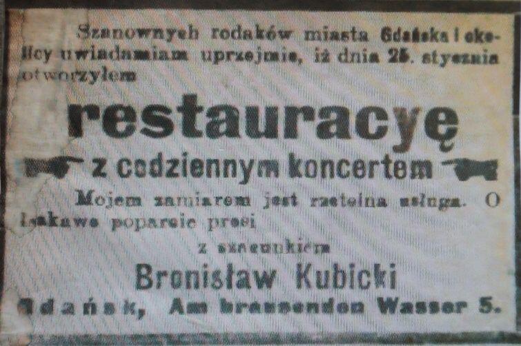 Anons z Gazety Gdańskiej ogłaszający powstanie restauracji z rzetelną usługą