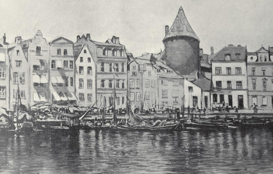 Gdańsk, zakole Motławy z Basztą Łabędź