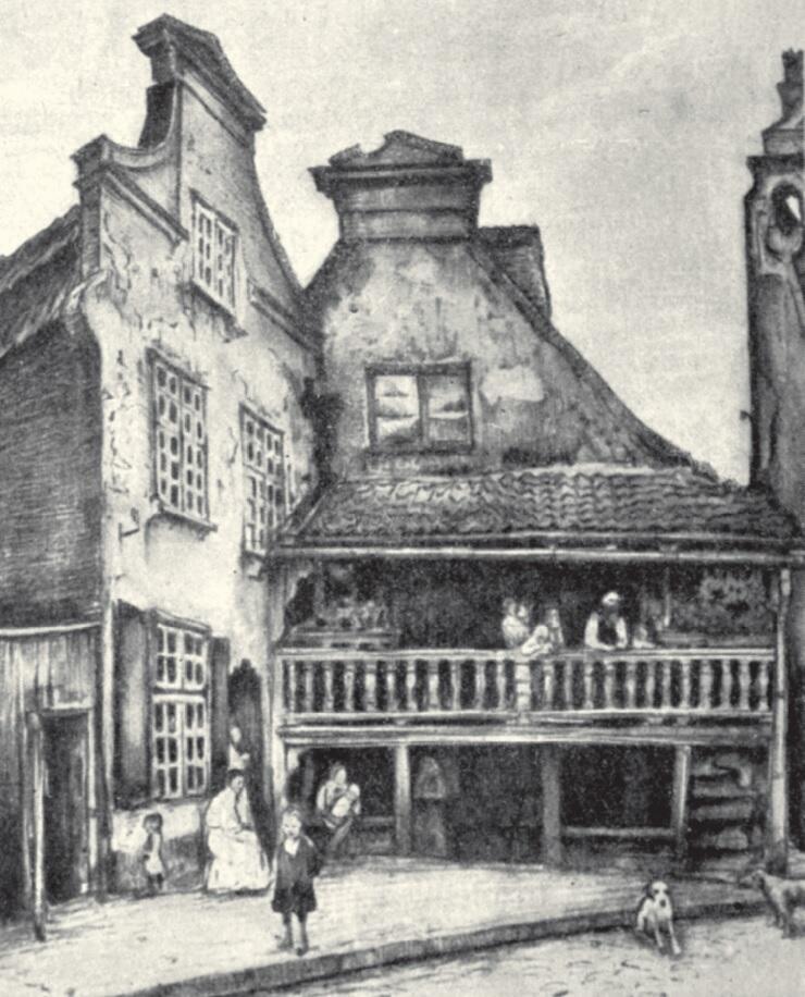 Domy stare na przedmieściu Gdańska