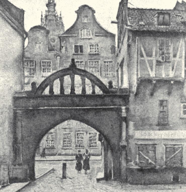Stary zaułek w Gdańsku