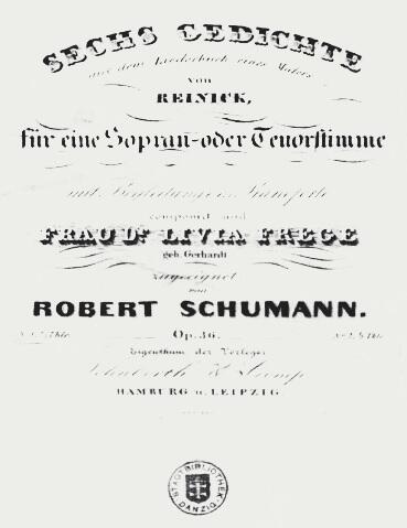 Strona tytułowa zbioru pieśni Roberta Schumanna do wierszy Roberta Reinicka