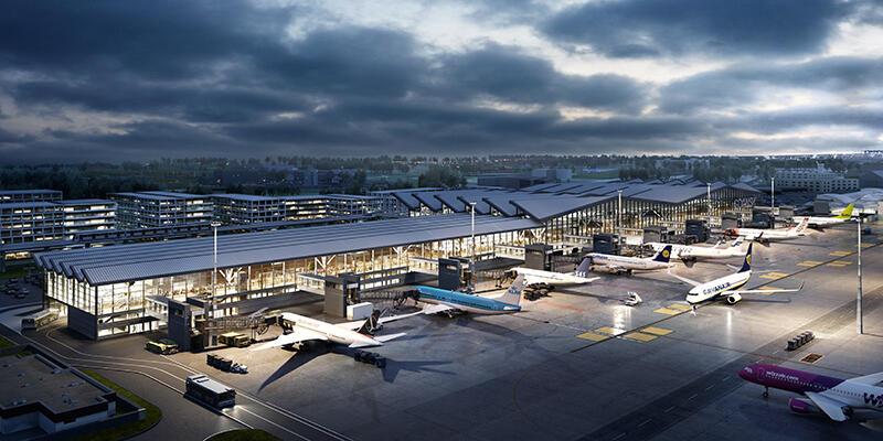 Wizualizacja rozbudowy terminalu T2 Portu Lotniczego Gdańsk im. L. Wałęsy, widok od strony płyty lotniska: po lewej pirs, za bryłą terminalu planowane Airport City, dzielnicy biurowej