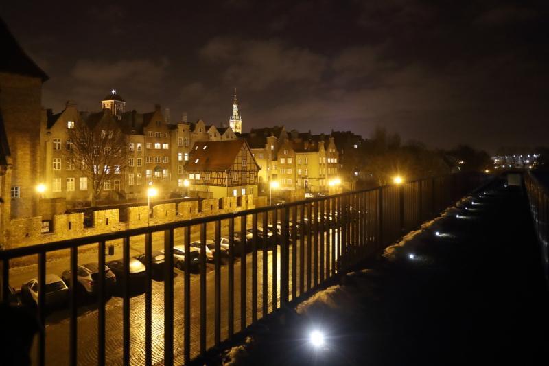 Tak wygląda Gdańsk nocą z tarasu widokowego Gdańskiego Teatru Szekspirowskiego