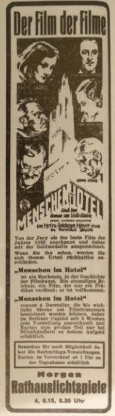 """""""Film nad filmami"""" rozpoczął swoją wędrówkę po gdańskich kinach od Rathaus-Lichtspiele (reklama z """"Danziger Volksstimme"""", 6 marca 1933)"""