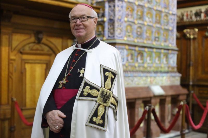 Bruno Platter, opat i wielki mistrz zakonu krzyżackiego podczas wernisażu wystawy w Muzeum Historycznym Miasta Gdańska