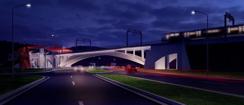 Wizualizacja trakcji elektrycznej na wiadukcie PKM przy przystanku Gdańsk Niedźwiednik