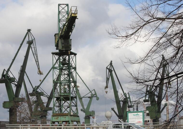 Stoczniowe żurawie, jeden z symboli naszego miasta, znajdują się na terenie Młodego Miasta