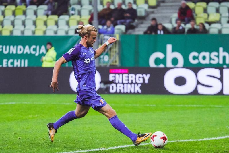 Duński piłkarz Lecha Christian Gytkjaer - zdobywca drugiego gola
