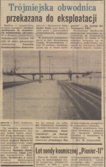 Otwierano obwodnicę w 1977 roku