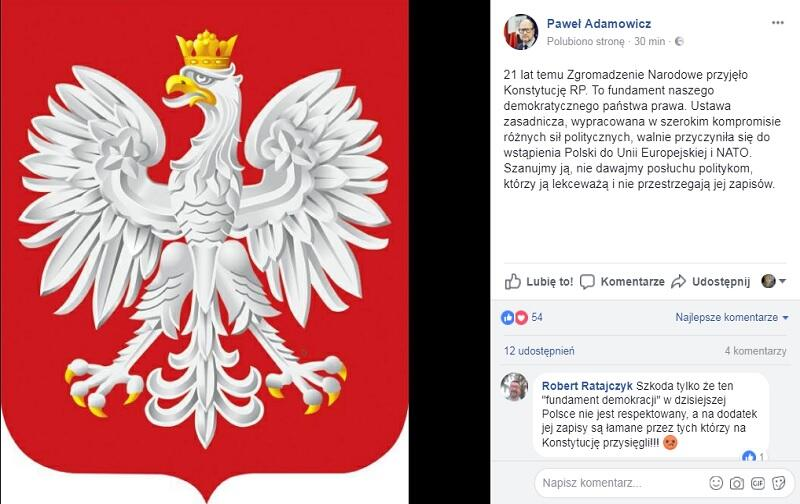 Paweł Adamowicz: - [od red. konstytucja] To fundament naszego demokratycznego państwa prawa