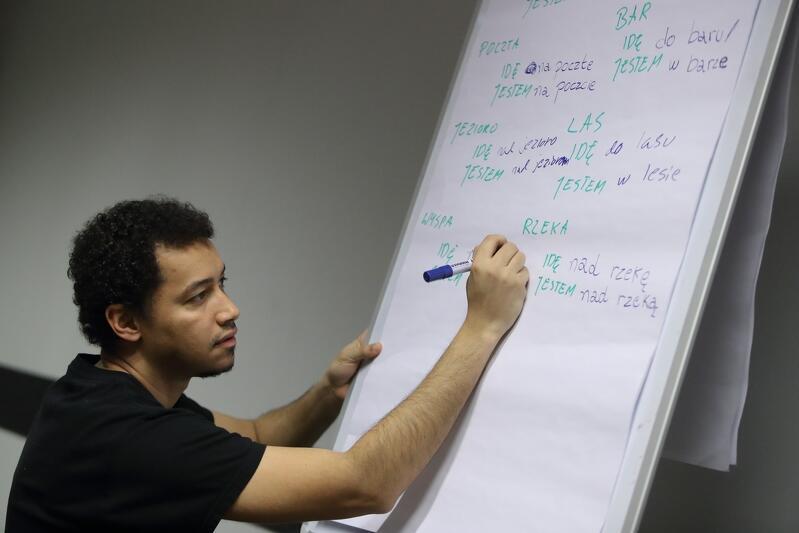 Denis da Silva przy tablicy