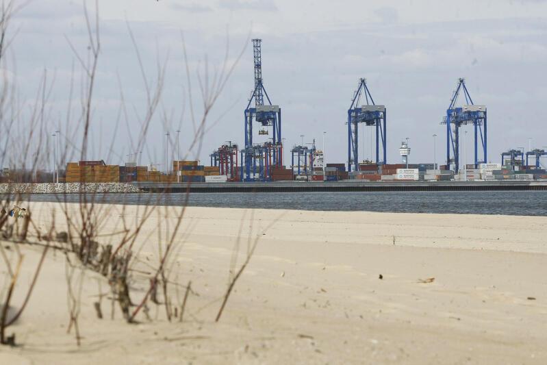Terminal kontenerowy DCT widziany z perspektywy plaży na Stogach. Port Gdańsk osiąga coraz lepsze wyniki przeładunkowe, na Bałtyku jest już potęgą - może potrzebować przestrzeni do dalszego rozwoju