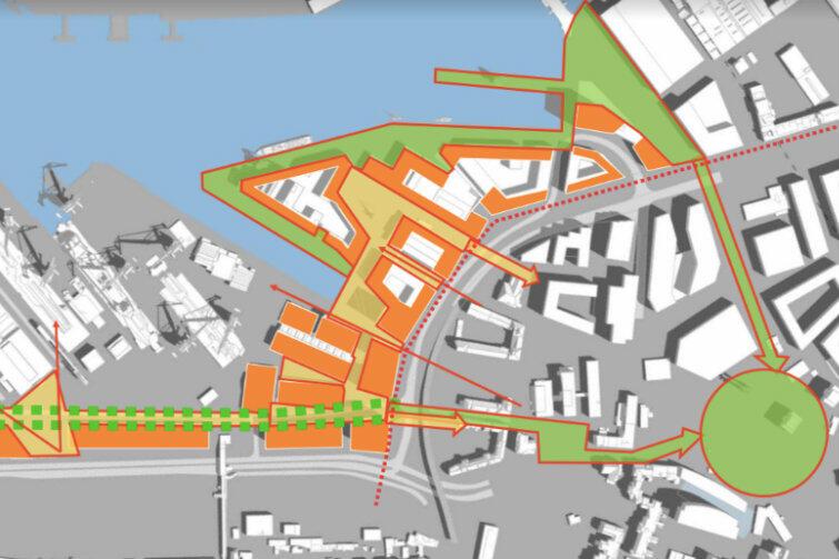 Rozmieszczenie bulwarów, ulic, alei oraz funkcji usługowych. Zielone koło po prawej stronie może służyć jako punkt orientacyjny - to Plac Solidarności z pomnikiem Poległych Stoczniowców