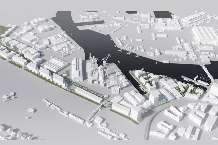 Wizualizacja przestrzenna - nowa architektura wkomponowana w stoczniowe tereny, budynki i dźwigi